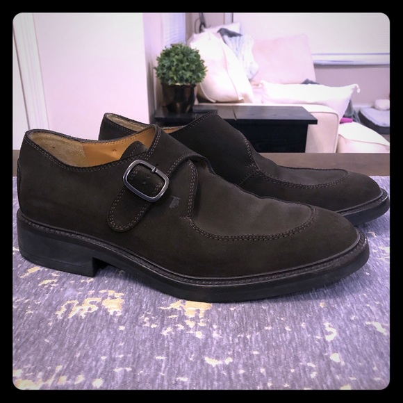 Tod's Other - Tod's Dark Green Suede Monk Strap Shoes